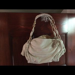 Slouch bag off white LEATHER